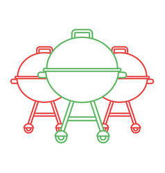 Three grill equipment preparation food vector
