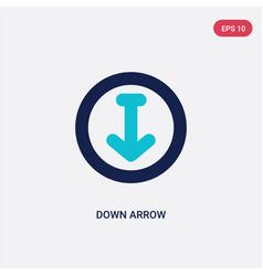 Two color down arrow icon from arrows 2 concept vector