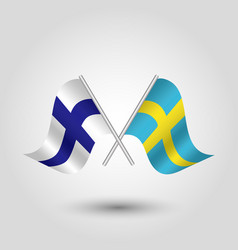 Two crossed finnist and swedish flags vector