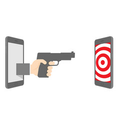 two smartphone with hand holding gun and target vector image