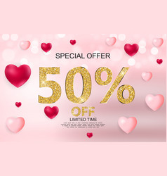 valentines day sale discont card vector image