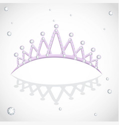 Violet shining tiara with diamonds on a white vector