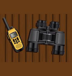 walkie-talkie and binoculars vector image