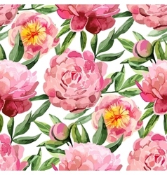 Watercolor peonies pattern vector