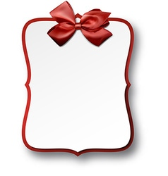 White paper gift card with red satin bow vector