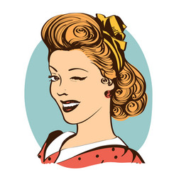 Winking young woman in retro clothes isolated on vector