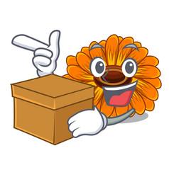 With box calendula flowers in a cartoon basket vector