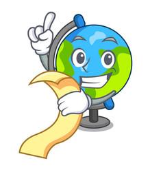 With menu globe mascot cartoon style vector