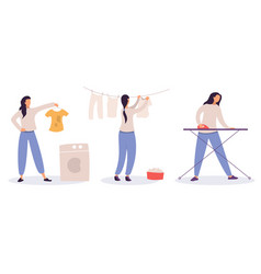 woman at housework - laundry drying and ironing vector image