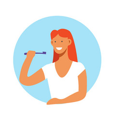 woman brushing teeth with toothbrush daily vector image