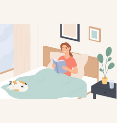 woman reading in bed young girl reads book and vector image