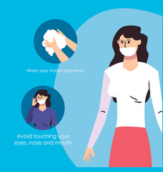 Woman with mask and tips for prevent spread of vector