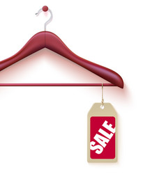Wooden hanger hanging on wall with tag sale vector
