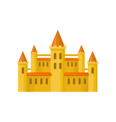 yellow castle with orange roof high towers and vector image