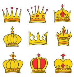 Beauty style crown elegant set vector