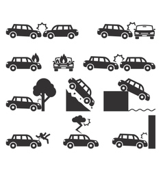 Car crash and accidents icon set vector image vector image