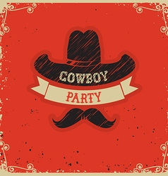 Cowboy party red background on red paper vector image vector image