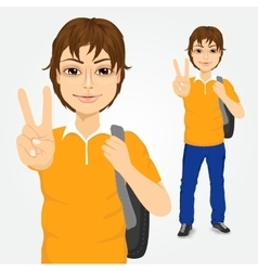 handsome student guy making victory sign vector image vector image