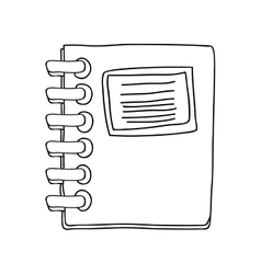 monochrome contour notebook spiral with sheets vector image vector image