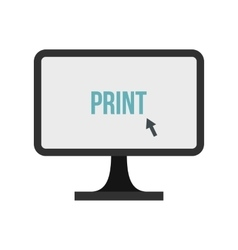 Print button on monitor icon flat style vector image vector image