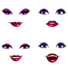 Set of beautiful female visage with stylish makeup vector image vector image