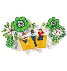 A topview of the people at the park vector image