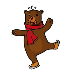 Bear in red scarf vector image