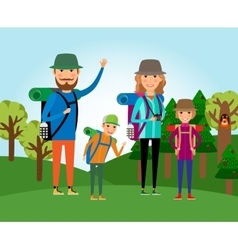 Nature tourism Family at the forest vector image vector image