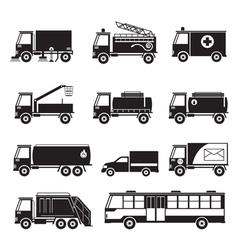 Public utility vehicles object silhouette set vector