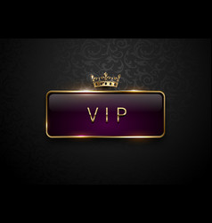 vip royal purple label with golden frame and crown vector image