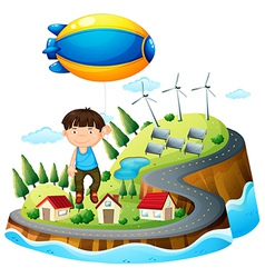 A boy floating with the aircraft vector image