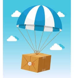 Blue and white parachute holding delivery box vector