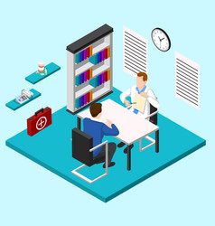 doctors room isometric composition vector image