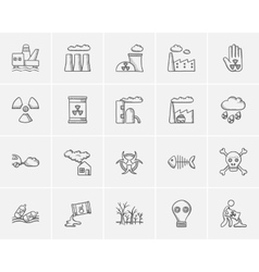 Ecology sketch icon set vector image vector image