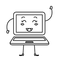 Laptop computer character icon vector