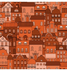 Seamless pattern with old town vector image