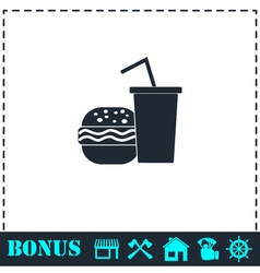 Fast food icon flat vector image vector image