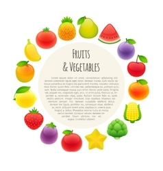 Fruits and Vegetables Round Banner vector image