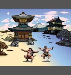 Japanese landscape vector image vector image