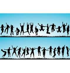 Set of people jumping outdoor vector image vector image