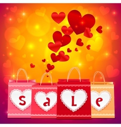 Valentines day shopping bags greeting card vector image vector image