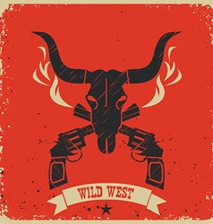 Western wild west poster background on red paper vector