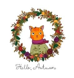 Wreath of autumn leaves cute cartoon cat vector image