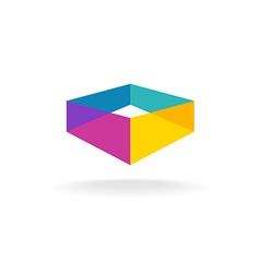 3d transparent abstract colorful perspective box vector