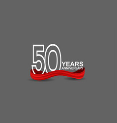 50 years anniversary line style white color vector