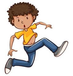 A simple coloured drawing of a boy dancing vector