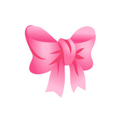 adorable pink ribbon bow isolated on white design vector image
