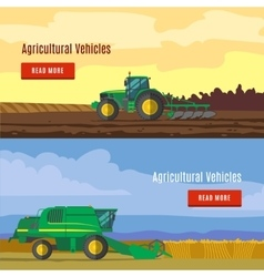 Agricultural vehicles flat banners vector