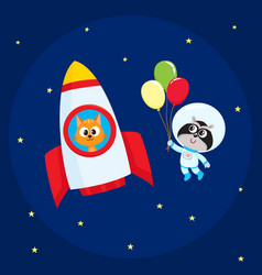 Animal astronaut spaceman characters cat and vector
