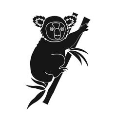 Australian koala icon in black style isolated on vector